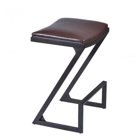 "Armen Living Atlantis 30"" Barstool in Auburn Bay finish with Brown Pu upholstery"