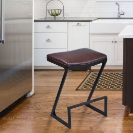 "Atlantis 30"" Barstool in Auburn Bay finish with Brown Pu upholstery"