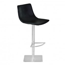 Attica Adjustable Swivel Metal Barstool in Vintage Black Pu and Brushed Stainless Steel