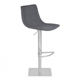 Armen Living Attica Adjustable Swivel Metal Barstool in Vintage Gray Pu and Brushed Stainless Steel