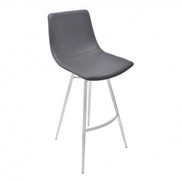 "Athens 26"" Counter Height Metal Barstool in Vintage Gray Pu and Brushed Stainless Steel"