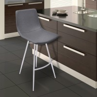 "Armen Living Athens 30"" Bar Height Metal Barstool in Vintage Gray Pu and Brushed Stainless Steel"