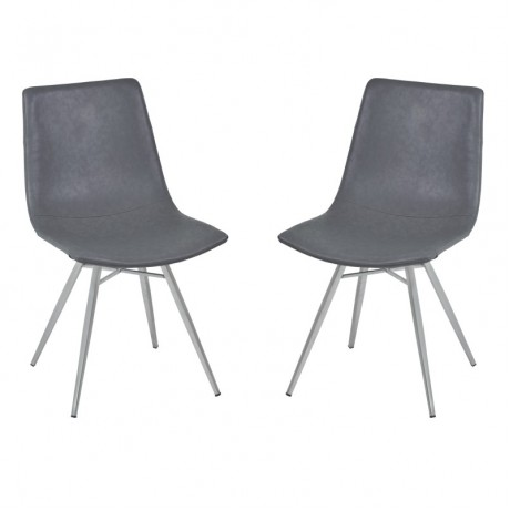 Athens Dining Chair in Vintage Gray Pu and Brushed Stainless Steel (Set of 2)