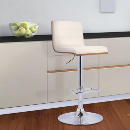 Armen Living Aubrey Barstool Chrome Base finish with Cream Pu upholstery and Walnut back