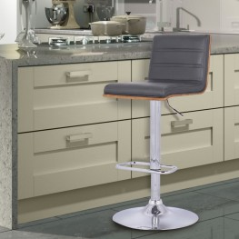 Aubrey Barstool Chrome Base finish with Gray Pu upholstery and Walnut back