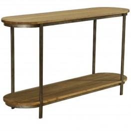 Barstow Pine Top Console Table With Gunmetal Frame