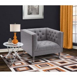 Bellagio Sofa Chair in Gray Wash Wood finish with Shiny Silver legs caps and Mist Fabric upholstery