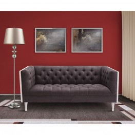 Armen Living Bellagio Loveseat in Gray Wash Wood finish with Shiny Silver legs caps and Charcoal Fabric upholstery