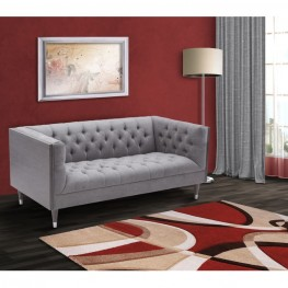 Armen Living Bellagio Loveseat in Gray Wash Wood finish with Shiny Silver legs caps and Mist Fabric upholstery