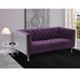 Armen Living Bellagio Loveseat in Black Wash Wood finish with Shiny Silver legs caps and Purple Fabric upholstery