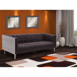 Armen Living Bellagio Sofa in Gray Wash Wood finish with Shiny Silver legs caps and Charcoal Fabric upholstery
