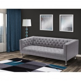 Armen Living Bellagio Sofa in Gray Wash Wood finish with Shiny Silver legs caps and Mist Fabric upholstery