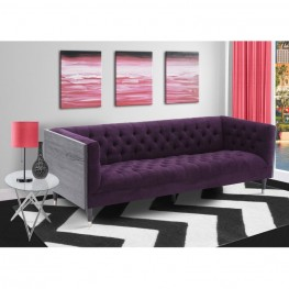 Armen Living Bellagio Sofa in Black Wash Wood finish with Shiny Silver legs caps and Purple Fabric upholstery