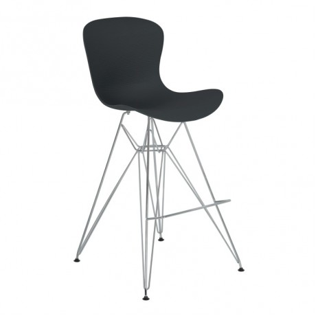 Armen Living Beloit Barstool in Chrome with Durable Molded Plastic Black Seat