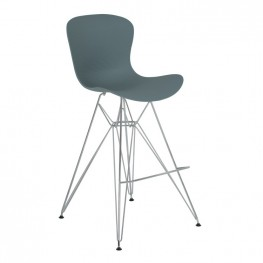 Armen Living Beloit Barstool in Chrome with Durable Molded Plastic Gray Seat