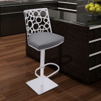 Armen Living Berlin Adjustable Swivel Metal Barstool in Gray Pu and Brushed Stainless Steel