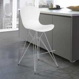 Armen Living Beloit Barstool in Chrome with Durable Molded Plastic White Seat