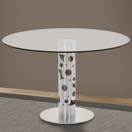 "Armen Living Berlin Round Dining Table in Brushed Stainless Steel and 48"" Glass Top"