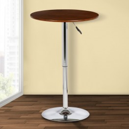 Bentley Adjustable Pub Table in Walnut Wood and Chrome finish