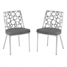 Armen Living Berlin Dining Chair in Gray Pu and Brushed Stainless Steel (Set of 2)