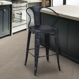 "Armen Living Berkley 30"" Barstool in Industrial Gray Steel finish and seat"