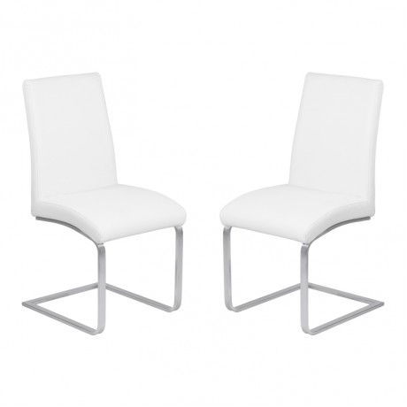 Blanca Contemporary Dining Chair in White Faux Leather with Brushed Stainless Steel Finish - Set of 2
