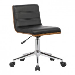 Bowie Mid-Century Office Chair in Chrome finish with Black Faux Leather and Walnut Veneer Back