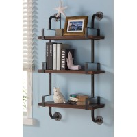 "Armen Living 40"" Booker Industrial Walnut Wood Floating Wall Shelf in Silver Finish"