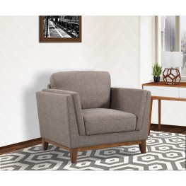 Armen Living Brussels Modern Chair in Brown Linen and Walnut Legs