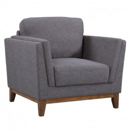 Armen Living Brussels Modern Chair in Dark Gray Linen and Walnut Legs