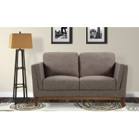 Armen Living Brussels Modern Loveseat in Brown Linen and Walnut Legs