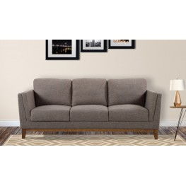 Armen Living Brussels Modern Sofa in Brown Linen and Walnut Legs