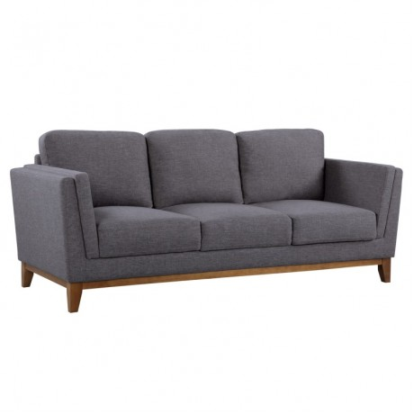 Armen Living Brussels Modern Sofa in Dark Gray Linen and Walnut Legs