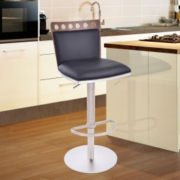 Armen Living Brooke Barstool in Brushed Steel finish with Black Pu upholstery and Walnut back
