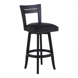 "Bristol 26"" Counter Height Swivel Wood Barstool in Black Finish and Black Pu"