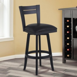 "Armen Living Bristol 26"" Counter Height Swivel Wood Barstool in Black Finish and Black Pu"