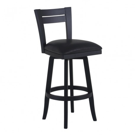 "Bristol 30"" Bar Height Swivel Wood Barstool in Black Finish and Black Pu"