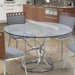 "Armen Living Brooke 48"" Round Dining Table in Brushed Stainless Steel finish with Clear Glass top"