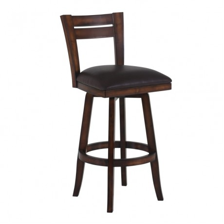 "Armen Living Bristol 26"" Counter Height Swivel Wood Barstool in Pecan Finish and Brown Pu"