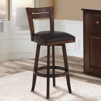 """Armen Living Bristol 26"""" Counter Height Swivel Wood Barstool in Pecan Finish and Brown Pu"""
