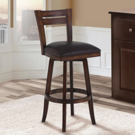 "Armen Living Bristol 30"" Bar Height Swivel Wood Barstool in Pecan Finish and Brown Pu"
