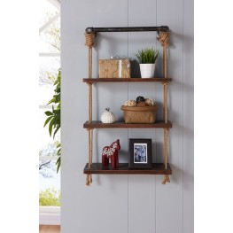 "Armen Living 24"" Brannon Modern Walnut Wood Floating Wall Shelf in Silver Finish"