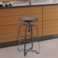 Armen Living Bronx Adjustable Barstool in Industrial Grey Steel finish and Pine Wood Seat