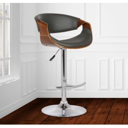 Butterfly Adjustable Swivel Barstool in Gray Pu with Chrome Finish and Walnut Wood