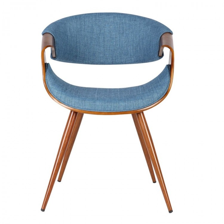 Armen Living Butterfly Mid Century Dining Chair In Walnut Wood And Blue  Fabric