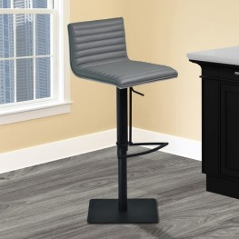 Cafe Adjustable Swivel Barstool in Gray Pu with Black Metal Finish and Gray Walnut Veneer Back