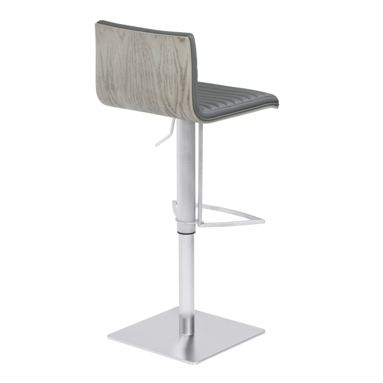 Wonderful Armen Living Cafe Adjustable Metal Barstool In Gray Faux Leather With  Brushed Stainless Steel Finish And ...