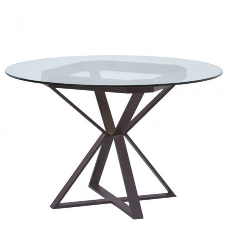 "Cairo Round Dining Table in Auburn Bay Finish and 48"" Glass Top"
