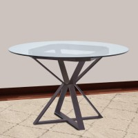 """Armen Living Cairo Round Dining Table in Auburn Bay Finish and 48"""" Glass Top"""