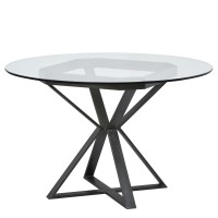 """Armen Living Cairo Round Dining Table in Mineral Finish and 48"""" Glass Top"""